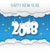 Шаблон дизайна поздравительной открытки с современным текстом для 2018 нового Стоковое Изображение