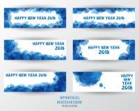 Шаблон дизайна поздравительной открытки с современным текстом для 2018 нового Стоковые Фотографии RF