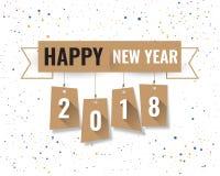 Шаблон дизайна поздравительной открытки с современным текстом для 2018 нового Стоковые Изображения