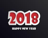 Шаблон дизайна поздравительной открытки с современным текстом на 2018 Новых Годов Стоковые Изображения