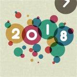 Шаблон дизайна поздравительной открытки с современным текстом на 2018 Новых Годов Стоковые Фото