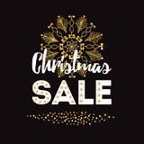 Шаблон дизайна продажи рождества знамени Xmas вектора в золотом confetti и снежинка на черноте Стоковые Изображения