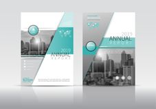 Шаблон дизайна рогульки брошюры крышки годового отчета Стоковые Изображения