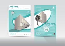 Шаблон дизайна рогульки брошюры крышки годового отчета Стоковое Изображение
