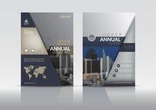 Шаблон дизайна рогульки брошюры крышки годового отчета Стоковая Фотография