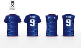 Шаблон дизайна спорта футболки для футболки, набора футбола и верхней части танка для jersey баскетбола Форма в фронте и заднем в иллюстрация штока