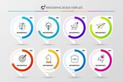 Шаблон дизайна Infographic Организационная схема с 8 шагами бесплатная иллюстрация