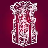 Шаблон для вырезывания лазера Подарки связанные с лентой бесплатная иллюстрация