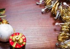 Шаблон для открытки с игрушками рождества Справочная информация Стоковое Изображение