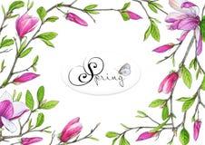 Шаблон для поздравлений или приглашений к свадьбе в зеленых и розовых цветах Стоковые Изображения