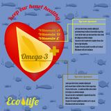 Шаблон для рекламировать рыбий жир иллюстрация штока