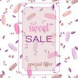 Шаблон для сладостной продажи Картина macarooni и вишен на белой предпосылке в мягких пастельных цветах бесплатная иллюстрация