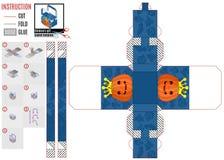 Шаблон для строить голубую коробку на хеллоуин с тыквой стоковая фотография rf