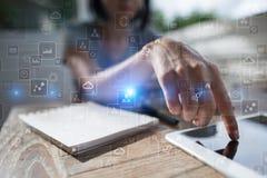 Шаблон для текста, предпосылки виртуального экрана Дело, технология интернета и концепция сети Стоковое Изображение