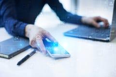 Шаблон для текста, предпосылки виртуального экрана Дело, технология интернета и концепция сети Стоковые Изображения RF