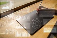 Шаблон для текста, предпосылки виртуального экрана Дело, технология интернета и концепция сети Стоковые Изображения