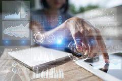 Шаблон для текста, предпосылки виртуального экрана Дело, технология интернета и концепция сети Стоковое Изображение RF