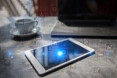 Шаблон для текста, предпосылки виртуального экрана Дело, технология интернета и концепция сети Стоковая Фотография