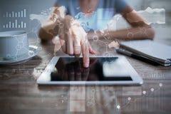 Шаблон для текста, предпосылки виртуального экрана Дело, технология интернета и концепция сети Стоковая Фотография RF