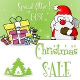 Шаблон зеленого цвета продажи Санта Клауса рождества бесплатная иллюстрация