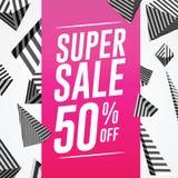 Шаблон знамени вектора продажи - супер продажа 50% Стоковые Изображения RF