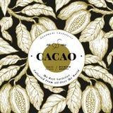 Шаблон знамени дерева фасоли какао Предпосылка бобов кака шоколада Иллюстрация вектора нарисованная рукой сбор винограда типа лил иллюстрация вектора