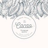 Шаблон знамени дерева фасоли какао Предпосылка бобов кака шоколада Иллюстрация вектора нарисованная рукой сбор винограда типа лил бесплатная иллюстрация