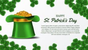 Шаблон знамени дня St. Patrick с иллюстрацией листьев клевера shamrock и золотой монетки в шляпе