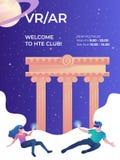 Шаблон знамени клуба виртуальной реальности вертикальный с молодыми женскими и мужскими gamers стоковая фотография rf