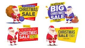 Шаблон знамени продажи рождества с классическим вектором Санта Клауса Стоковое Фото