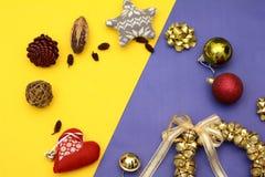 Шаблон знамени рождества с колоколами и сердцем деталей украшения Стоковое фото RF
