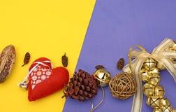 Шаблон знамени рождества с колоколами и сердцем деталей украшения Стоковое Изображение RF