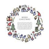 Шаблон знамени рождества с элементами рождества декоративными Нарисованная рукой иллюстрация вектора бесплатная иллюстрация