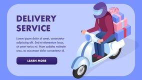 Шаблон знамени сети обслуживания доставки равновеликий иллюстрация штока