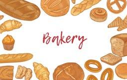 Шаблон знамени сети с рамкой сделанной различных типов хлебов и сладких домодельных испеченных продуктов и места для текста иллюстрация вектора