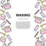 Шаблон знамени с вощить и иллюстрацией удаления волос Стоковое Фото