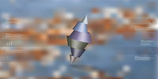 шаблон иллюстрации 3D infographic с 2 взял криво аранжированный конус на острие разделенный до 6 частей и иллюстрация вектора