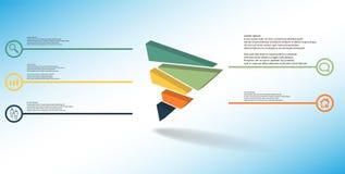 шаблон иллюстрации 3D infographic с выбитым треугольником случайно разделяемым до 5 перенесенных частей иллюстрация штока