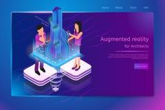 Шаблон интернет-страницы Новаторск Архитектурноакустическ Компании иллюстрация вектора