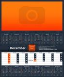 Шаблон 2019 календарей декабрь Место для вашего фото бесплатная иллюстрация