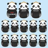 Шаблон 2018 календарей Животная форменная милая панда, черно-белый вектор шаржа 2018 календарей Стоковое Фото