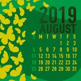 Шаблон календаря августа 2019 с конспектом Стоковая Фотография RF
