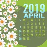 Шаблон календаря апреля 2019 с конспектом Стоковые Изображения RF