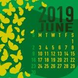 Шаблон календаря июня 2019 с конспектом Стоковые Фото