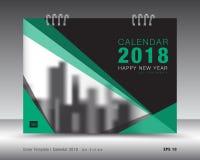 Шаблон 2018 календаря крышки Зеленый план книги Дизайн рогульки брошюры дела рекламодателя бумерангов бесплатная иллюстрация