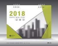 Шаблон 2018 календаря крышки Зеленый план книги Дизайн рогульки брошюры дела рекламодателя бумерангов иллюстрация вектора