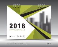 Шаблон 2018 календаря крышки Зеленый план книги Дизайн рогульки брошюры дела рекламодателя бумерангов иллюстрация штока