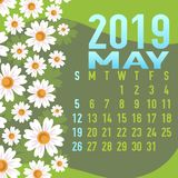 Шаблон календаря мая 2019 с конспектом Стоковая Фотография RF