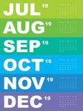 Шаблон календаря на 2019 Стоковые Изображения RF