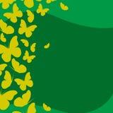 Шаблон календаря с абстрактными желтыми бабочками Стоковая Фотография RF